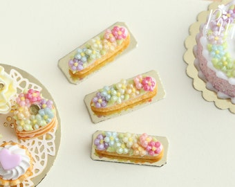 Rainbow Blossoms French Eclair (Rainbow Collection) - Miniature Food for Dollhouse 12th scale 1:12