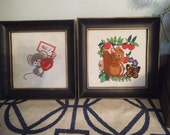 2 adorable vintage Cross Stitch Crewel Pictures Squirrel  Berries and butterfly ~ Mouse Strawberry