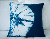 16x16 Blue Shibori Pillow Cover