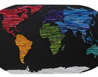 Map of the World - made from Recycled Magazine wall art- colorful, blue, green, red, purple, pink, yellow, orange