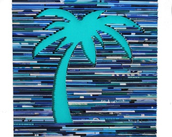 Large Palm tree wall art-made from recycled magazines,blue,teal, waves, summer, ocean, white, square, pattern, aquamarine, coastal