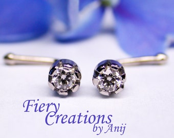 """Pair Earring studs """"Starlit Flowers"""" - Platinum set with a 0.04ct Starry Fine White Diamonds & 18k SOLID White Gold stem."""