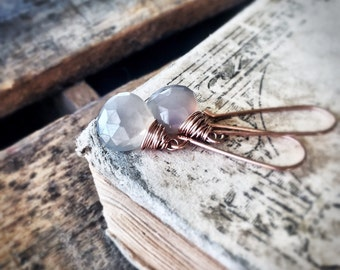 Grey Moonstone Earrings Rose Gold - Gemstone Earrings - Rose Gold Filled Jewelry - Simple Classic - Dangle Drop Earring - Free Shipping