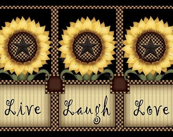 Fall Wall Decor,Live,Laugh,Love,Sunflowers,Wood Plaque,Carrie Knoff,18x12