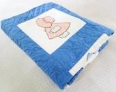 Sunbonnet Sue, 1930s 40s quilt, vintage quilt, blue applique quilt. hand quilted, girls quilts,depression era