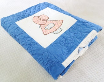 Sunbonnet Sue, 1930s 40s quilt, vintage quilt, blue applique quilt. hand quilted, girls quilts,depression era
