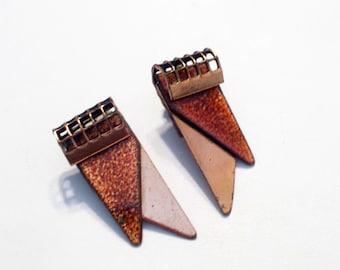 Matisse Renoir Earrings, Rare Vintage MATISSE Enamel and Copper TAPESTRY Clip Earrings, Modernist Earrings, Matisse Jewellery