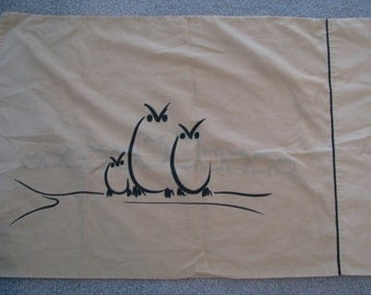 Vintage Alex West Black Owl Sketch Pillowcase Standard Golden Tan