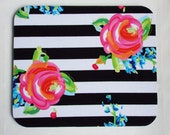 Mouse Pad mouse pad / Mat -  Black and white stripes roses flowers  -  round or rectangle - office accessories desk home decor