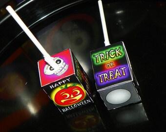 Halloween Party Favors. Halloween Party Lollipop Boxes. Pumpkin Party Favors. Jack o lantern Lollipop Boxes. Trick or Treat Theme Sucker
