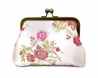 SALE, Cosmetics Bag, Small Purse, Small Clutch, Makeup Bag, Kisslock, Brocade, Wedding Purse, Flower Girl