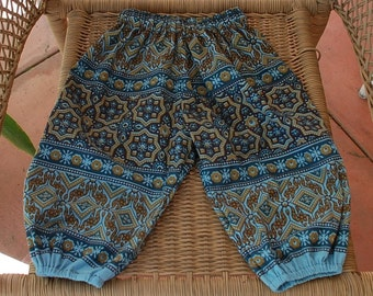 Hippie Harem pants Kids -size 2-TanTeal Blue flower-Girls or Boys-read measurements-Downward Dog Yoga pants