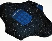 Liner Hemp Core- Space Tardis Reusable Cloth Mini Pad- 7.5 Inches (19 cm)