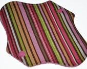 Liner Core- Pink and Brown Stripes Reusable Cloth Mini Pad- 7.5 Inches (19 cm)