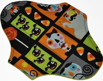 Light Hemp Core- Scary Stache Ghosts Reusable Cloth Pantyliner Pad- WindPro Fleece- 8.5 Inches