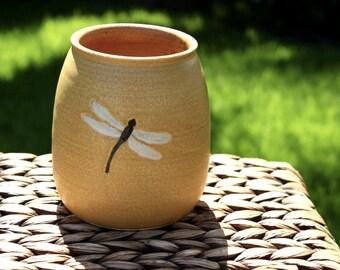 Ceramic DRAGONFLY Utensil Holder - Handmade Ochre Stoneware Dragonfly Utensil Holder / Wooden Spoon Jar - Ready To Ship