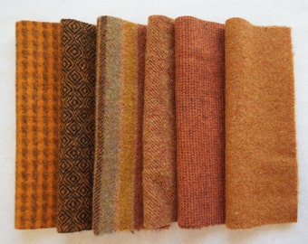 Autumn Tones - Pumpkin Orange - Hand Dyed Felted Wool in a Beautiful Collection a Perfect Rug Hooking and Applique Wool