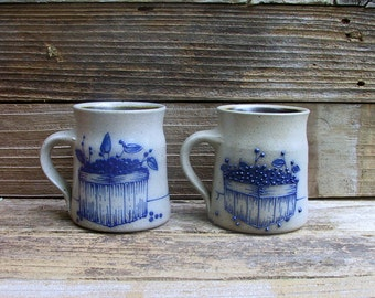 Pair of Awesome Salt Glazed Pottery Mugs...Cups