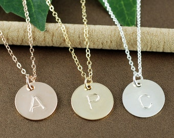 Personalized Initial Necklace, Gold Initial Necklace, Hand Stamped Initial Jewelry, Gift for her, Silver Initial Pendants, Monogram Necklace