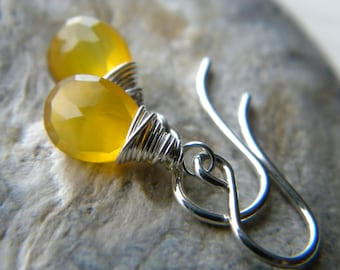 Sunny bright yellow chalcedony semiprecious gemstone earrings - sterling silver - handmade wire wrapped jewelry