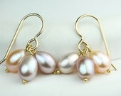 Pearl Cluster Earrings Natural color freshwater pearls on gold filled hooks, pearl jewellery, women's jewelry by art4ear, under 25 dollars