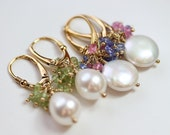 Custom listing for Ivyanpro, Two pairs of cluster gemstone/pearl earrings by art4ear