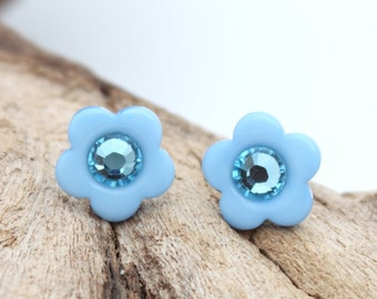 Mini pastel blue flower button earrings with Swarovski crystal rhinestone- silver plated stud earrings - cute jewelry gift for her
