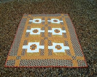 Masculine Lap Quilt, Handmade Blanket, Yellow Gold Brown, Quilt, Gift for Boyfriend, Baby Quilt, Quilted Blanket, Man Cave Gift