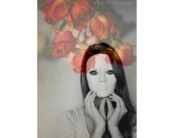 Portrait Photography, Flower Photography, Double Exposure, Dark Art, Female Portrait, Roses, Black and White, Dreamy Photography, Fine Art