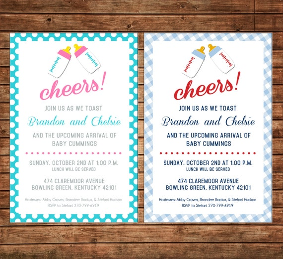 Boy or Girl Baby Bottle Cheers Couples Shower Party Tea Sprinkle Invitation - DIGITAL FILE