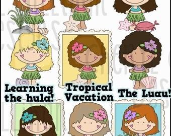 Dumplin Girls Do The Hula Clipart Collection - Immediate Download