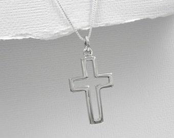 Cross Necklace, Baptism Necklace, Confirmation Necklace, Confirmation Gift Girl, Sterling Silver Cross Necklace,Baptism Gift Girl, Godmother