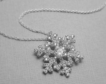 Snowflake Necklace, Sterling Silver and CZ Snowflake Necklace, Winter Bridesmaid Necklace, Christmas Gift Necklace, Winter Necklace