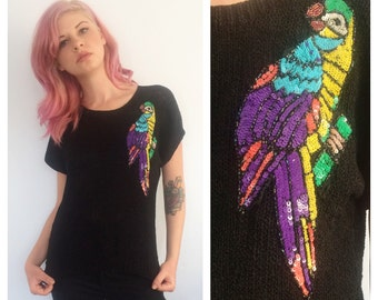 Vintage Sequined Parrot Sweater