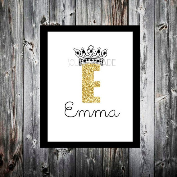 Baby Crown Wall Decor : Nursery crown letter art print baby girl wall decor
