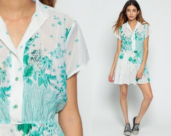 Sheer Floral Dress 70s Mini High Waisted Garden Party Button Up 80s Cap Sleeve Vintage Boho White Green Bohemian Retro Romantic Hippie Large