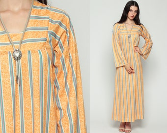 Maxi Dress STRIPE Dress 70s Bohemian Caftan Hippie Festival Boho 1970s Vintage Orange Long Wide Sleeve Large