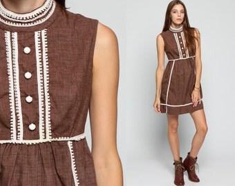 Mod Mini Dress 60s High Neck Button Up 70s Hippie Babydoll Empire Waist Vintage Gogo Sleeveless Retro 1970s Brown White Dolly Small xs