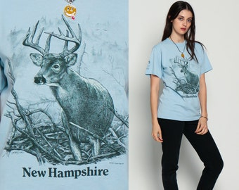 Deer Shirt 80s NEW HAMPSHIRE Shirt Animal TShirt Vintage Retro Thin Graphic Wilderness Buck Screen Print 1980s t shirt Baby Blue Medium