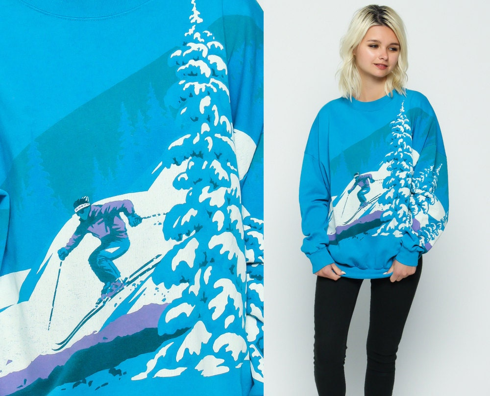 80s Sweatshirt Ski Sweater SNOW Scene Souchy Blue Mountain