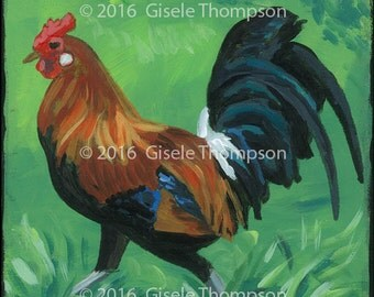 Rooster, new, 4x4 painting, acrylic on wood, ready to hang