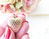 Gold Plated Heart Locket Necklace - Keepsake - Photo Locket - Bridesmaid - Valentines Day - Gold Heart