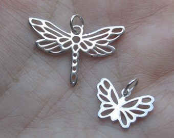 Sterling Silver Open Work Dragonfly, or Butterfly Charm