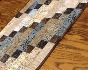 Blue and Brown Batik Table Runner