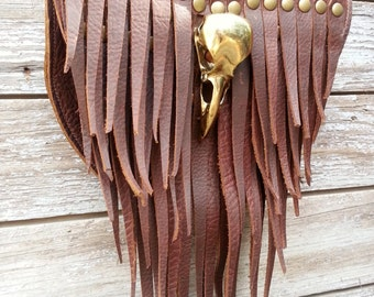 Primitive Feathered Brown Leather Sporran Hip Bag or Pouch with Brass Raven Skull