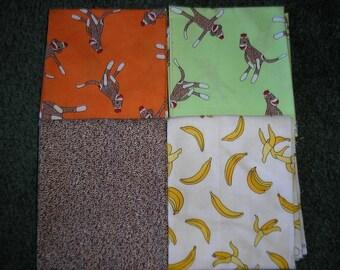 4 Assorted Yards  by Moda    Sock Monkey Fabrics
