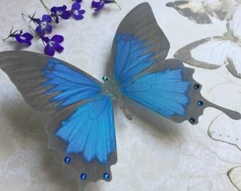 Hand Cut silk butterfly hair clip - Large Blue Swallowtail