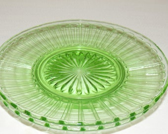 2 green RIBBON 6 1/4 inch sherbet plates by Hazel Atlas