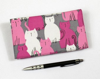 Cats Checkbook Cover for Duplicate Checks with Pen Holder,  Pink and White Cats on Gray Fabric