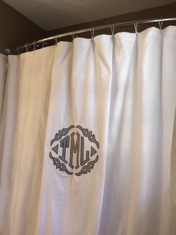 Monogrammed Applique Shower Curtain By Monogramsetcnc On Etsy